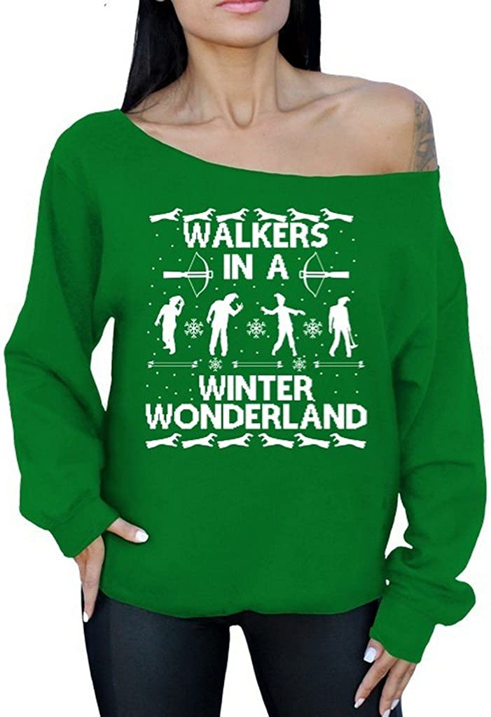 Walkers in A Winter Wonderland Off The Shoulder Sweater Ugly Christmas Sweater