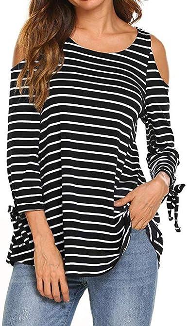 STRIR Mujeres Primavera Verano Camisetas con Hombros fríos y Hombros Descubiertos Pullover Casual Camisa Manga Larga Cuello Redondo Blusa Rayadas Patchwork Elástico Tops: Amazon.es: Ropa y accesorios
