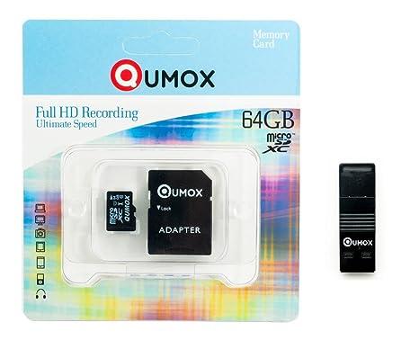 QUMOX 64GB Tarjeta Memoria Micro SD Clase 10 UHS-I 64 GB R con Lector USB OTG