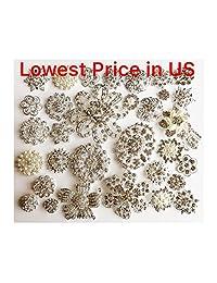 32 pcs Rhinestone Silver Brooch Lot Wedding brooch Bouquet DIY Kit wholesale assorted lot set crystal rhinestone Bridal BR668
