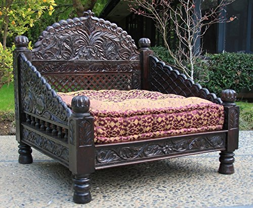 Intricately Carved Arch Love Seat, hand crafted from Solid Indian Rosewood (40x36x36)