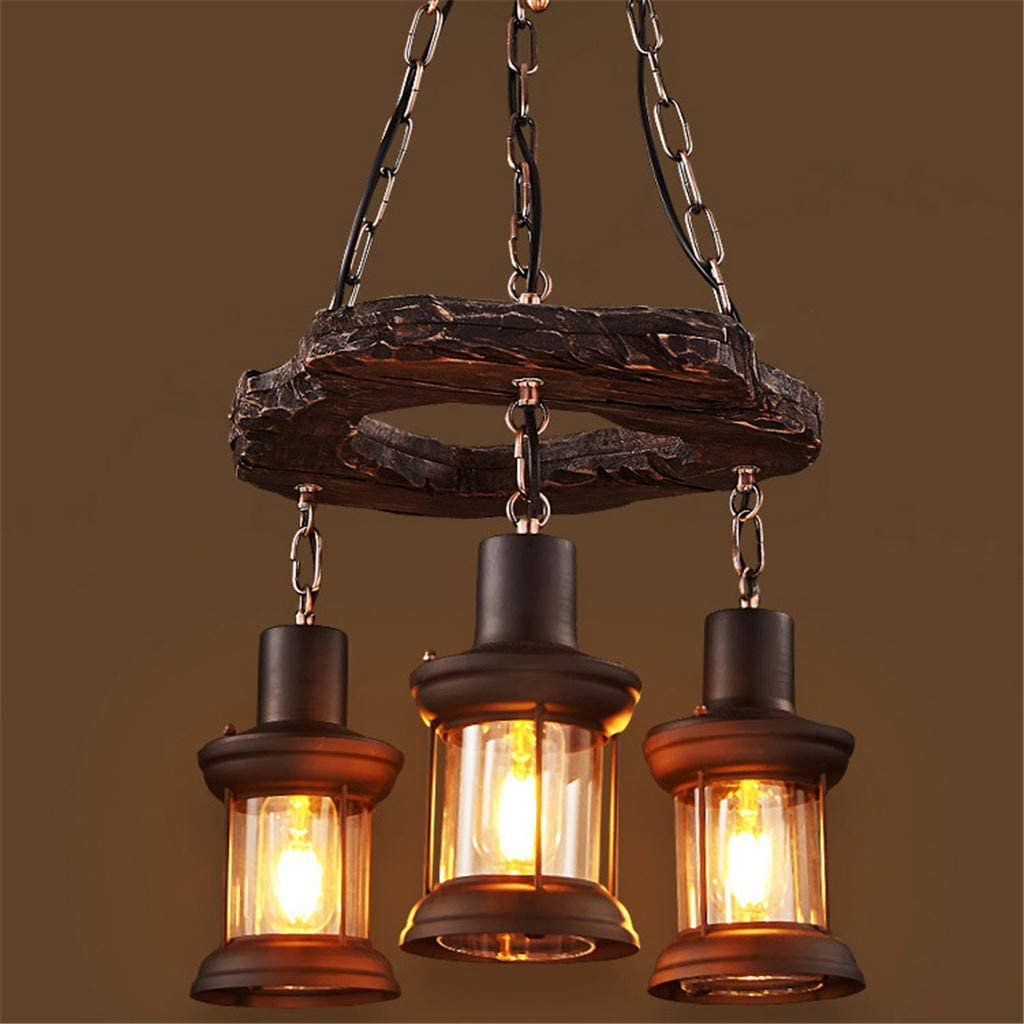 Lámpara colgante Retro Madera industriales Lámpara de techo Vintage Candelabros Antiguo Colgante vidrio iluminación colgante para salón mesa de comedor restaurante Hotel rústico estilo