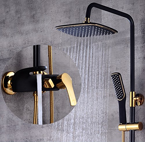 Black Gold Sprinkle European Light Luxury Bathroom Baking Paint Gilt Into The Wall-Type Lifting And Adjusting Environmental Protection Rain Shower Set