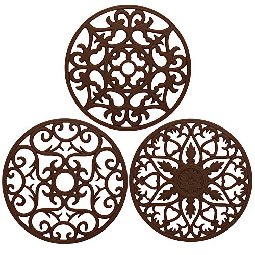(ME.FAN 3 Set Silicone Multi-Use Intricately Carved Trivet Mat - Insulated Flexible Durable Non Slip Coasters (Coffee))