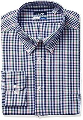IZOD Men's Regular Fit Stretch Plaid Buttondown Collar Dress Shirt