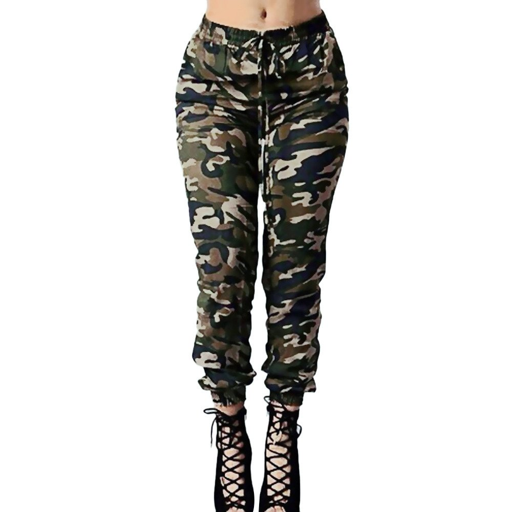 Clearance Sale! Charberry Womens Camouflage Printed Bandage Trousers Military Army Green Casual Loose Pants (US-4 /CN-S)