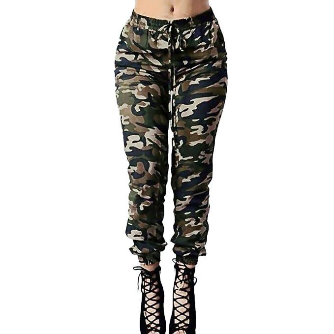 d03216b784 DOGZI Pantalones Mujer Cintura Alta Camuflaje Militar Impreso Ejercito  Verde Pantalones de Vendaje Casual Suelto Pantalones  Amazon.es  Ropa y  accesorios