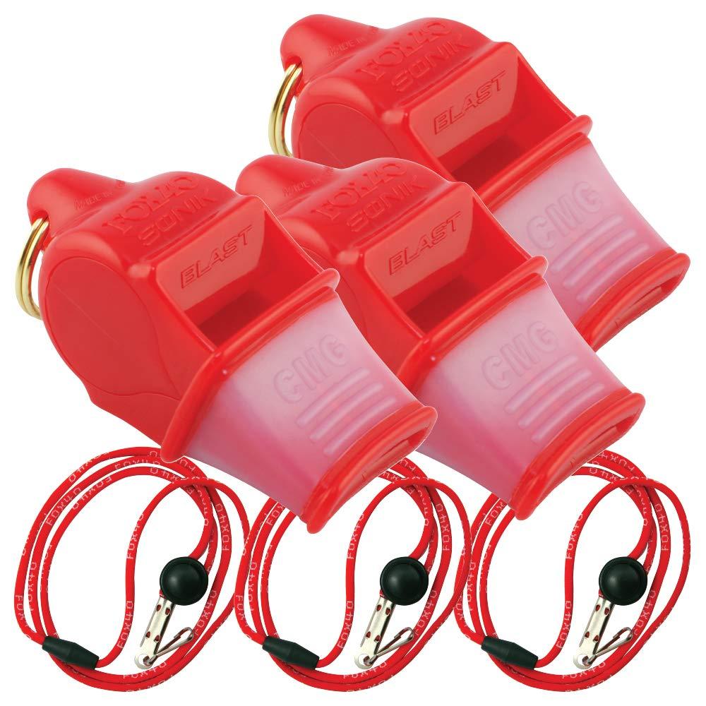 Fox 40 Sonik Blast CMG w/Breakaway Lanyard 3 Pack (Red) by Fox 40