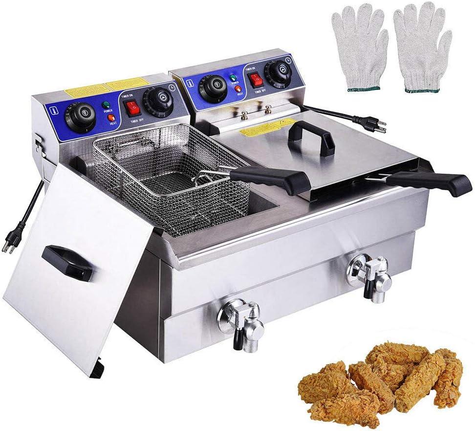 jiufa New 23.4L Electric Dual Tank Deep Fryer Restaurant Chicken French Fry w/Drains