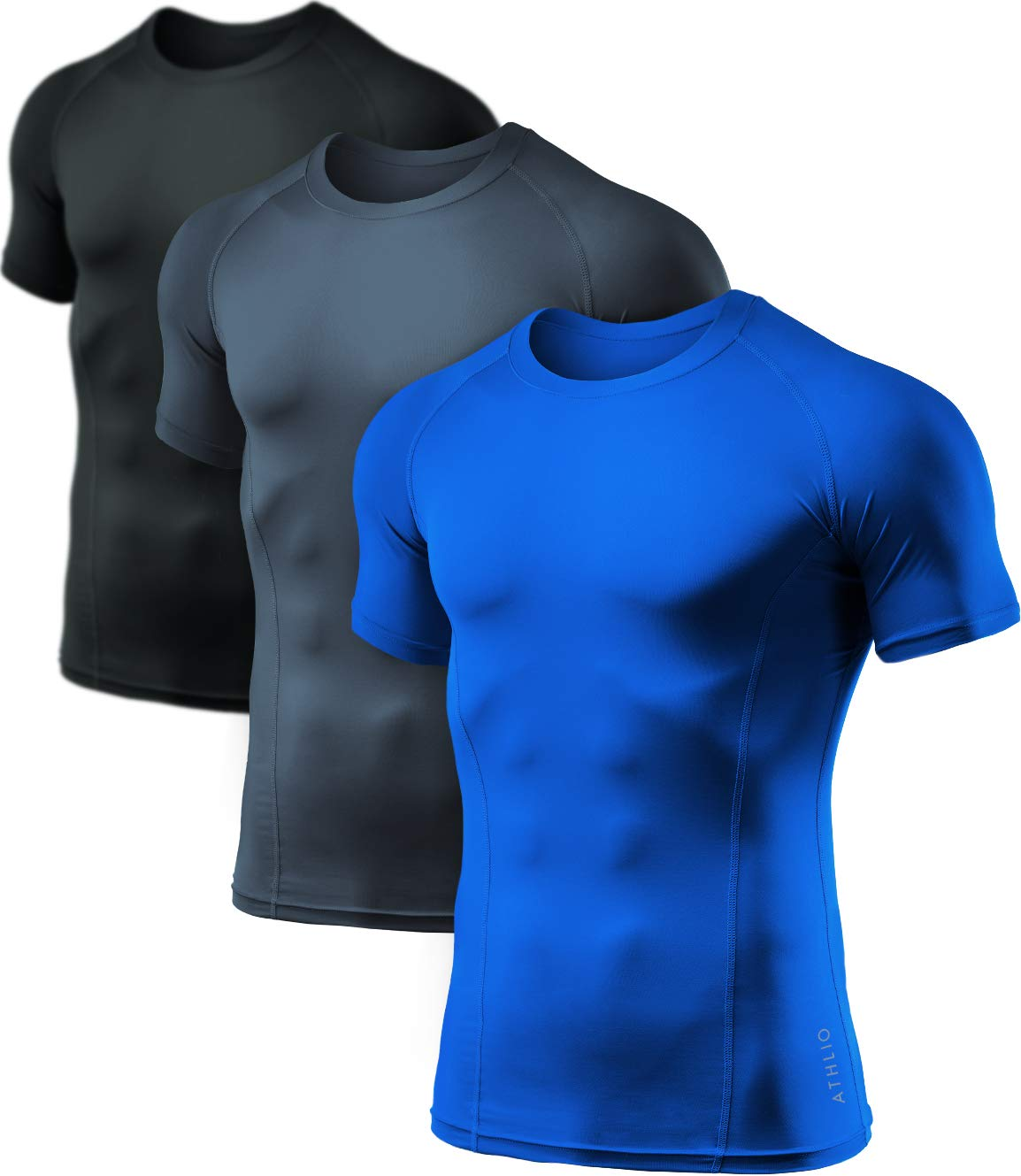 ATHLIO Men's (Pack of 3) Cool Dry Compression Short Sleeve Sports Baselayer T-Shirts Tops, 3pack(bts02) - Black/Charcoal/Blue, 2X-Large