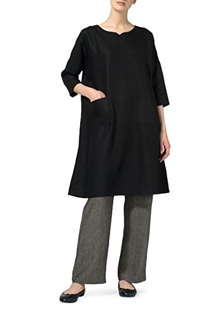 Amazon.com: Vivid Lino half-sleeve Monje Vestido: Clothing