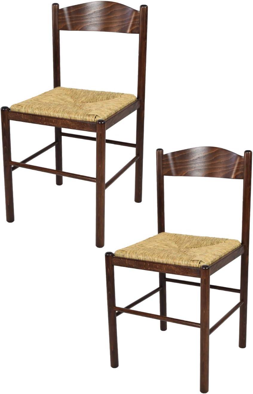 tmcs Tommychairs Set 2 sedie Classiche Pisa 38 per Cucina, Bar e Sala da Pranzo, con Robusta Struttura in Legno di faggio Verniciato Color Noce