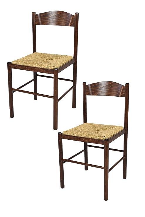 Tommychairs - Set 2 sedie Classiche Pisa 38 per Cucina, Bar e Sala da  Pranzo, con Robusta Struttura in Legno di faggio Verniciato Color Noce  Scuro e ...