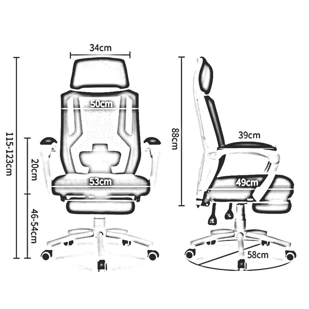 WYYY stolar kontorsstol 360 graders svängbar ergonomisk nät skrivbordsstol justerbar höjd 46-54 cm huvudstöd lutningsfunktion hållbar stark (färg: Vit) Svart