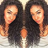 Curly Human Hair Full Lace Wigs 130% Density Brazilian Loose Deep Curly Wig for Black Women Natural Color 12 inch