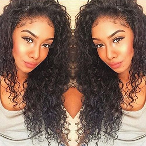 Curly Human Hair Lace Front Wigs 150% Density Brazilian Deep Curly Wig with Baby for Black Women 16 inch (Wig Hair Curly Human)