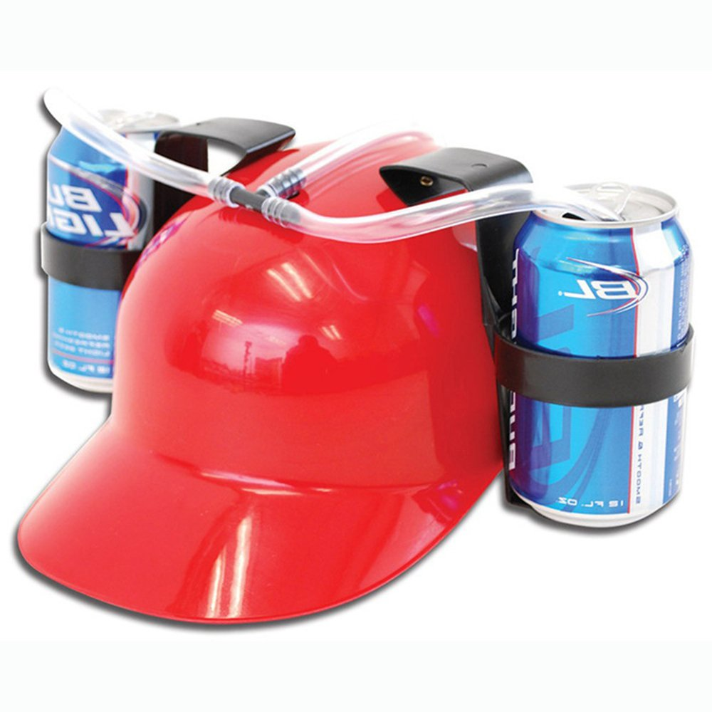Casavidas Funny Beer Soda Can Holder cap Straw Drinking Helmet Hat for Holiday Party Game, Free Glasses Straw Gift: ROT