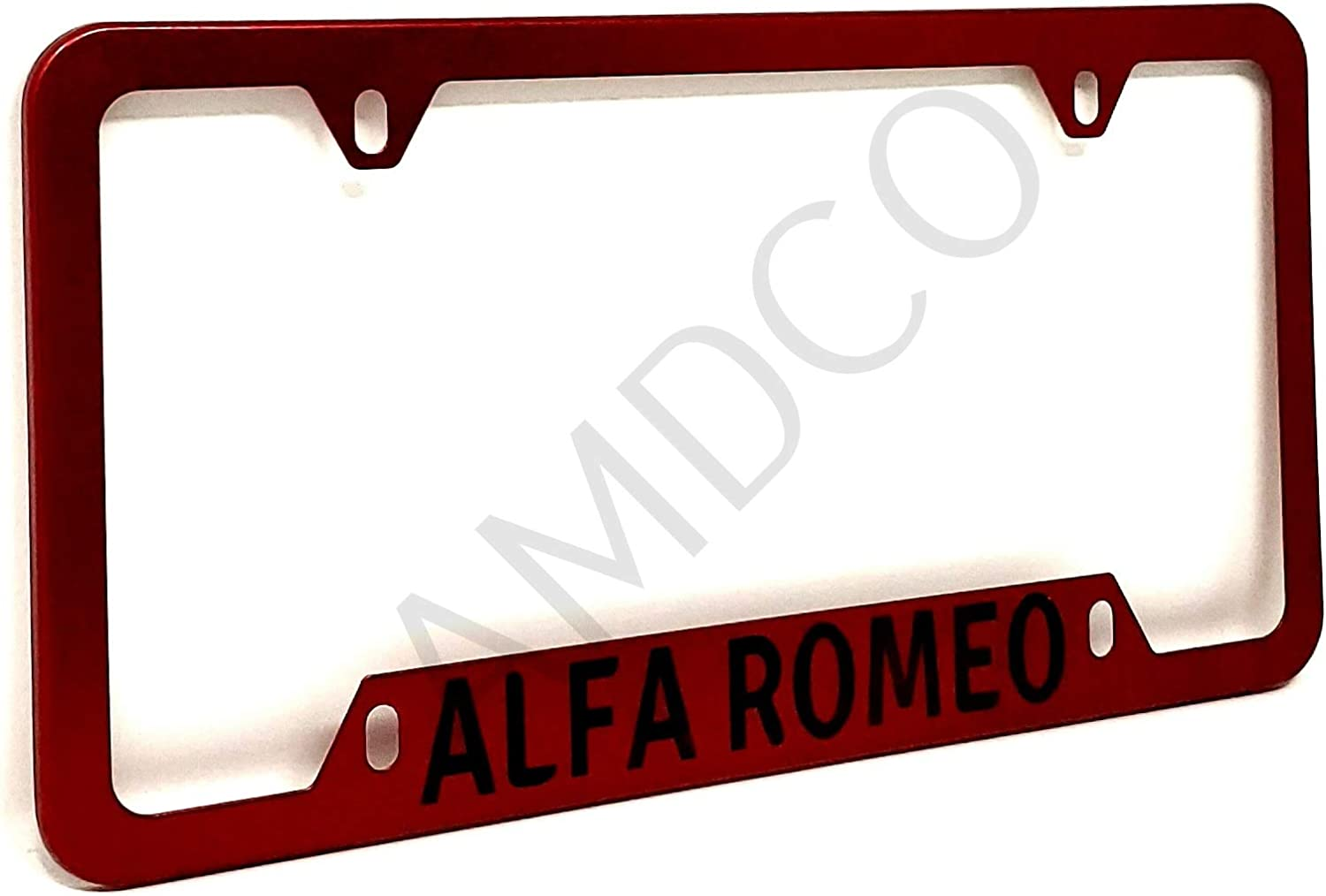 AMDCO - for ALFA Romeo 600 barchetta 750 500x License Plate Cover Holder Frame Badge Stickers Decals with Strong 3M Includes Instructions Measure Before Purchase Fitment (Pack of 1) RED