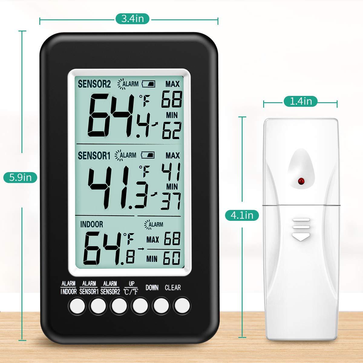 Congelador Term/ómetro Registro MAX//MIN ORIA Digital Term/ómetro del Refrigerador Term/ómetro para Nevera con 2 Sensores Inal/ámbrico y Alarma Audible 4.3 Pantalla LCD USB//Alimentado por Bater/ía
