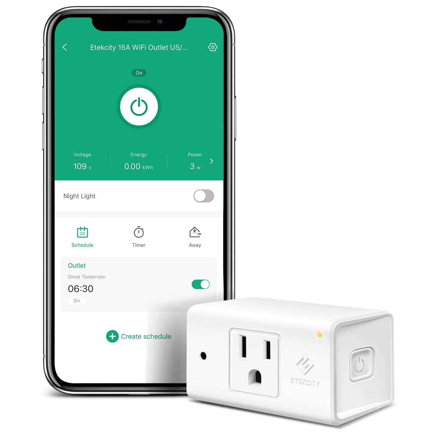 Etekcity WiFi Smart Plug Mini Outlet with [Automatic Night Light], Schedule with Energy Monitoring, No Hub Required, Works with Alexa and Google Home, ETL Listed, White, 15A/1800W