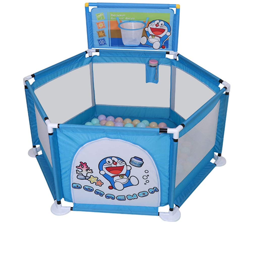 ZfgG Baby Playpen and Ball Pit Set, Safety Play Area Gate White Mesh Fence Assembled House Play Yard (Color : C)