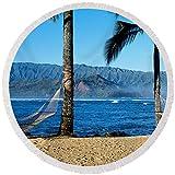 Pixels Round Beach Towel With Tassels featuring ''Hammocks Hanalei Bay Kauai Hawaii'' by Pixels