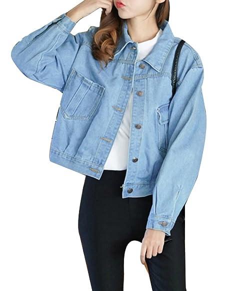 507f31a387cd61 Donna Boyfriend Giubbotto Giacchetta Vintage Giacchetti Jeans Corti  Outerwear Giacca di Jeans Larga Azzurro M