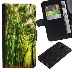 iBinBang / Flip Funda de Cuero Case Cover - Planta Naturaleza Forrest Flor 66 - Samsung Galaxy S5 Mini, SM-G800, NOT S5 REGULAR!