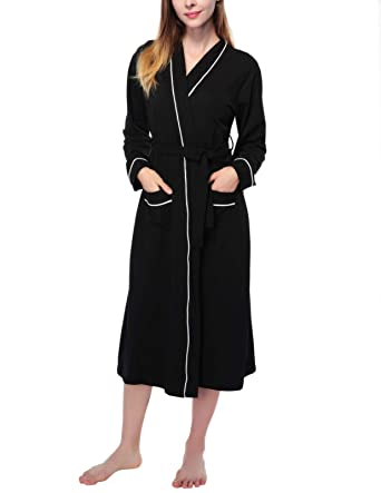 0f4c1f88b5 AMONIDA Cotton Bathrobe for Women Long Robes Soft Sleepwear at ...