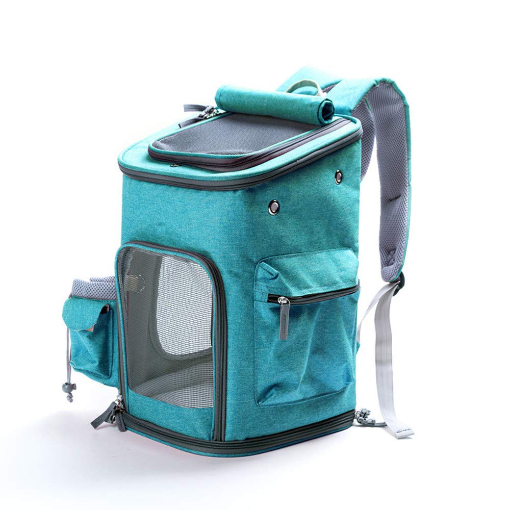 bluee FZQ Pet Backpack Portable Cat Bag Linen Cloth Double Handle Wide Shoulder Strap Soft Cushion Breathable Mesh Foldable for Outdoor,bluee
