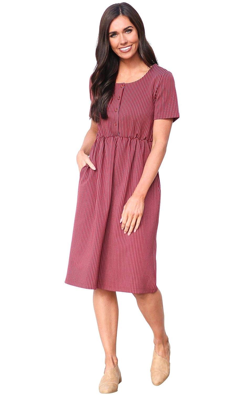 79ab504d2deed Mikarose Raelyn Modest Dress or Modest Nursing Dress at Amazon Women's  Clothing store: