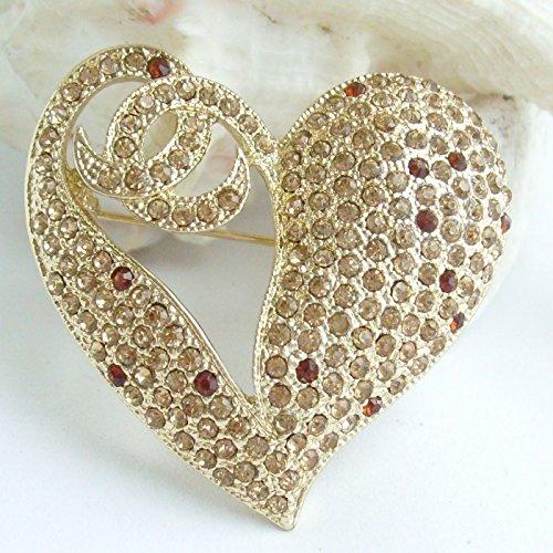 1.97'' Rhinestone Crystal Love Heart Brooch Pin Pendant BZ4831 (Gold-Tone Yellow) by Sindary Jewelry (Image #3)