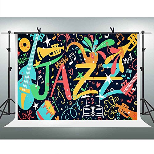 FHZON 10x7ft Music Doodle Photography Backdrop Jazz Background Themed Party YouTube Backdrop Photo Booth Studio Props -