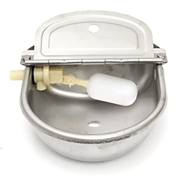 Tutoy 2,5 l Acero Inoxidable automático Agua a Través de la Válvula de Flotador Granja Caballo Vaca Oveja Tazón de Bebida: Amazon.es: Hogar