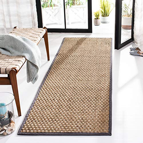 Safavieh Natural Fiber Collection NF114Q Basketweave Natural and Dark Grey Summer Seagrass Runner (2'6