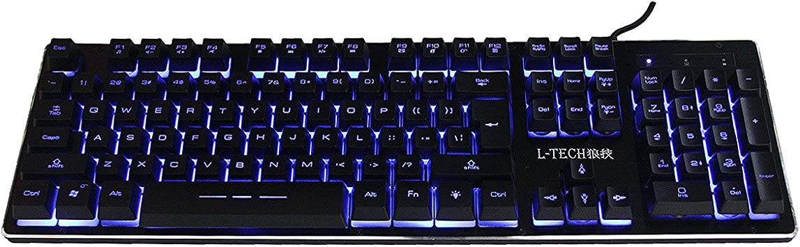 L-TECH X300 Impermeable Teclado para Juegos, 3-Color LED Iluminado Teclado Retroiluminado Negro