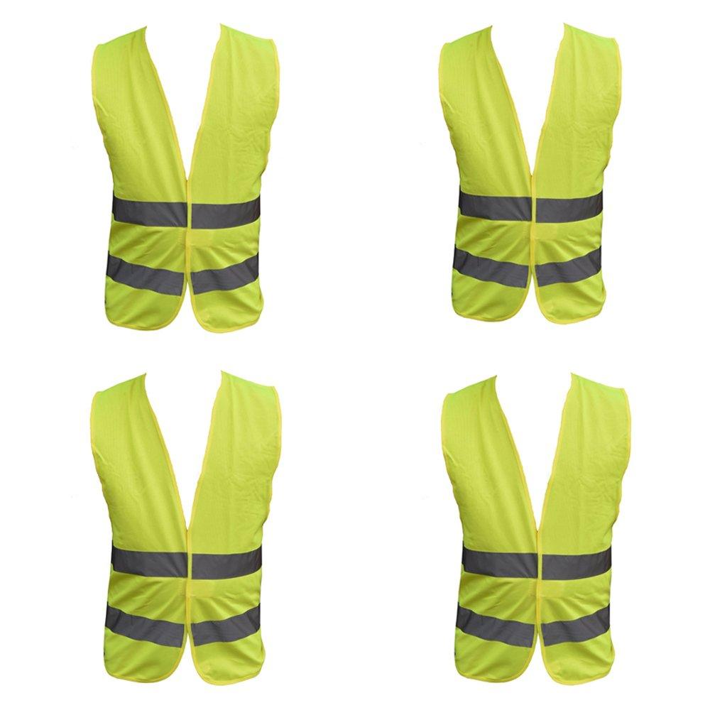 4 Pack Adult Yellow Hi Vest High Vis Hi Viz Visibility Vest Waistcoat Jacket Safety Security Family Motoring & Leisure