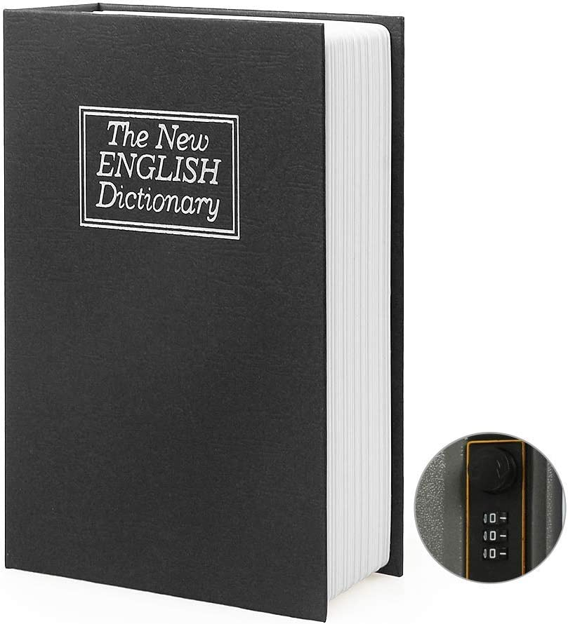 Small Sized Diversion Book Safe Storage Box, Dictionary Secret Safe Can with Security Combination Lock/Key, Diversion Book Hidden Safe (Combination, Black dictionary)