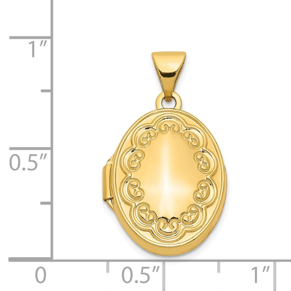 Mia Diamonds 14k Yellow Gold Scroll Oval Locket