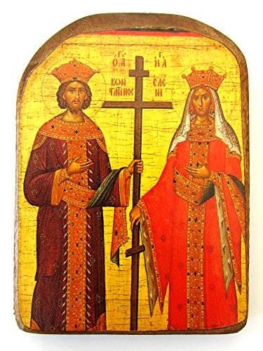 (Wooden Greek Christian Orthodox Wood Icon of Saint Constantine and Helen / MP2)