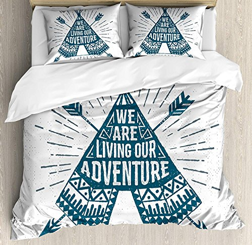 Adventure 4 Pieces Bedding Set Full, Teepee Crossed Arrows We are Living Our Adventure Inspirational Quote, Duvet Cover Set Decorative Bedspread for Childrens/Kids/Teens/Adults,Dark Petrol Blue (Petrol Wash)