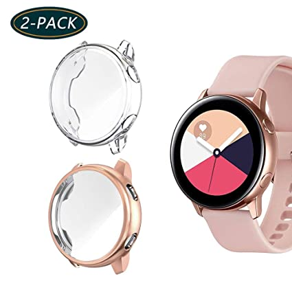(2-Pack) KPYJA for Samsung Galaxy Watch Active Screen Protector, All-Around TPU Anti-Scratch Flexible Case Soft Protective Bumper Cover for Galaxy ...