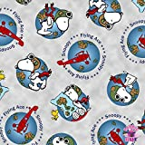 Snoopy Flying Ace Gray Globe Fabric by the Yard