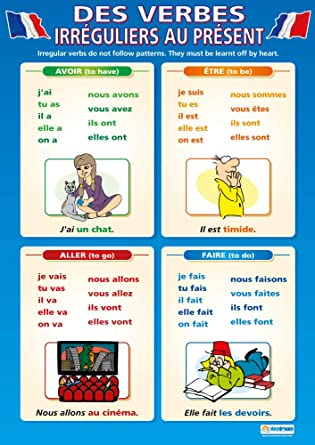 Amazon Com Des Verbes Irraguliers Au Prasent Language Learning Posters Laminated Gloss Paper Measuring 850mm X 594mm A1 Second Language Charts For The Classroom Education Charts By Daydream Education Office Products