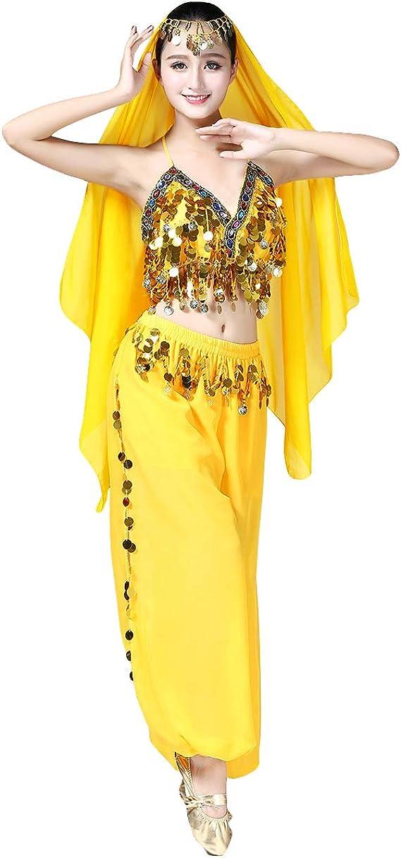 OBEEII Disfraz Danza del Vientre Mujer 3Piezas Traje de Baile para ...