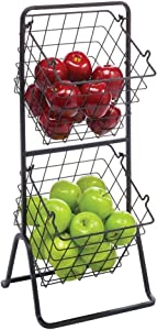 mDesign 2 Tier Angled Farmhouse Decor Metal Wire Food Organizer Tower Storage Bin Baskets for Kitchen Pantry, Bathroom, Laundry Room, Closets, Garage - Matte Black