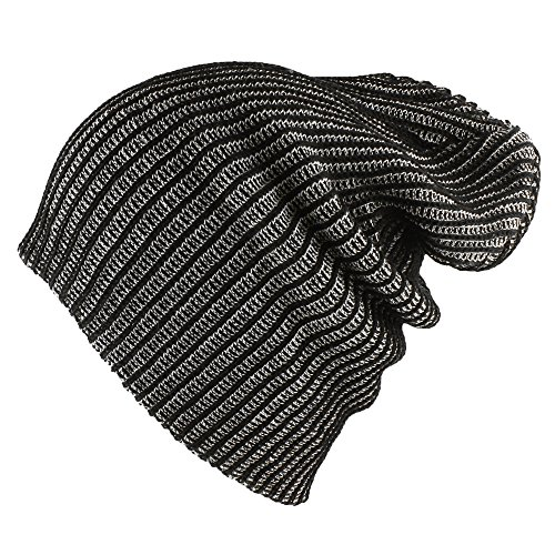 Morehats Two Tone 100% Cotton Slouchy Knit Beanie Warm Winter Skater Ski Hip-hop Hat - Black