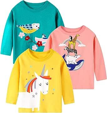 Camiseta de Manga Larga para niñas, Camiseta de algodón, Informal, cálida, con gráfico de Unicornio, Dibujos Animados, Conjunto de 3 Paquetes
