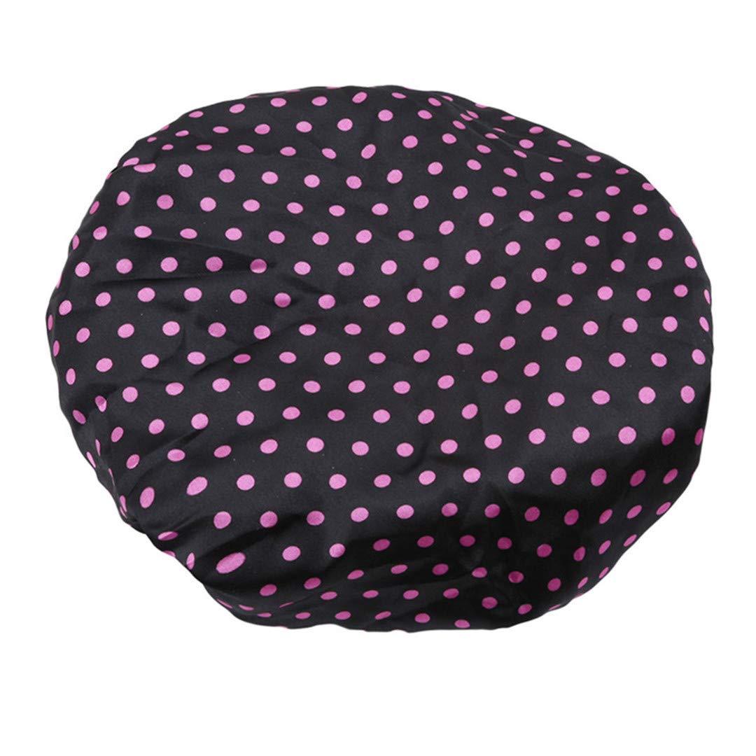 Faliya Cute Bowknot Dot Épaissir le bonnet de douche imperméable Élastique bonnet de bain pour les femmes filles beige