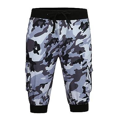 Pantalones Cortos de Hombres Moda Camuflaje Suelto Casuales ...